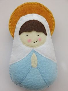 Mary Felt Softie by SaintlySilver on Etsy Felt Christmas Ornaments, Christmas Nativity, Christmas Crafts, Softies, Faith Crafts, Felted Wool Crafts, Homemade Art, Felt Decorations, Fabric Art