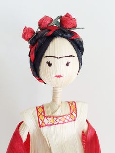 Corn husk Frida Kahlo doll by coriagraphicarts on Etsy