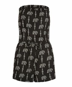 Black Pattern (Black) Black Elephant Print Bandeau Playsuit | 296607809 | New Look