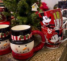 Snowman tea mug. Mickey and Minnie Christmas mugs. Sold at Louisville Tea Company