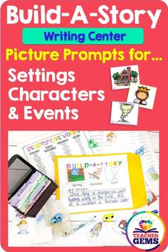 Writing Center: Build-A-Story with Creative Writing Prompts Kindergarten Writing, Teaching Writing, Writing Activities, Writing Skills, Teaching Ideas, Kindergarten Readiness, Routine Chart, Esl, Marker