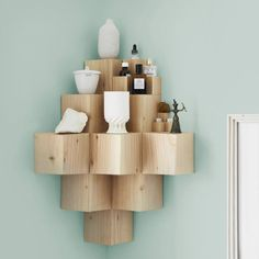 """The Fundamental Shop, """"A Few Of My Favourite Things is a desktop console or a wall shelf where you can place your most treasured artifacts. Handcrafted in Germany in solid Douglas Fir, the unit can be mounted vertically in a corner, or horizontally on a wall either as a single large shelf or as a series of smaller platforms""""."""