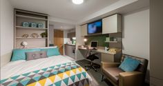 Experience some of the best student housing in Glasgow with Downing Students' West Village. Studios & shared flats available & all bills included. Student Home, Student Apartment, Big Beds, Large Beds, Leeds College Of Music, Bedroom Decorating Tips, Common Room, Flat Rent, Bedroom With Ensuite