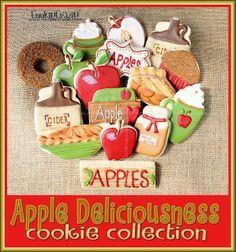Apple Deliciousness Cookie Collection by Cookie Crazie Apple Cookies, Fall Cookies, Cake Mix Cookies, Iced Cookies, Cut Out Cookies, Yummy Cookies, Chip Cookies, Sugar Cookies, Butter Cupcakes