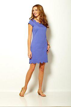 Sara Campbell stretch pique dress with scallop neck and hem