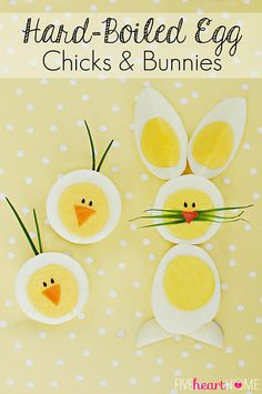 Hard-Boiled Egg Chicks & Bunnies ~ a cute way to use up those extra Easter eggs! Reviled eggs too! Boil Easter Eggs, Easter Egg Dye, Hoppy Easter, Easter Chick, Easter Bunny, Boiled Eggs, Hard Boiled, Easter Appetizers, Easter Treats