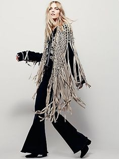 Heart of Gold Fringe Shawl   Vegan suede macramé shawl featuring statement fringe trim. With metal bead accents.