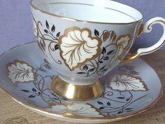 Antique bone china tea cup set vintage Tuscan by ShoponSherman, $69.00