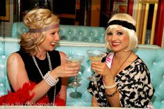 1920's bachelorette theme! Would be cute if bride is the only white flapper- the other girls are in black.