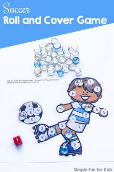 Play a fun simple game to practice number recognition, number matching, taking turns, or just for fun: Soccer Roll and Cover Game for preschool and kindergarten. Number Recognition Activities, Number Puzzles, Number Matching, Matching Games, 10 Sided Dice, Numbers For Toddlers, Handprint Art, Learning Numbers, Cool Kids