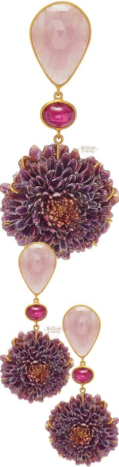 Bahina 18k gold, sapphire, ruby and dahlia earrings #jewelry #accessory #color #mauve