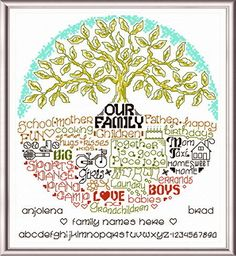 Lets Love Our Family cross stitch pattern designed by Ursula Michael.