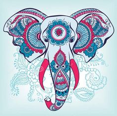 ... colorful indian elephant head on blue batterned background tattoo