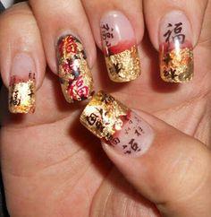 Asian Red & Gold Leaf Acrylic Nail Art by pureperfection from Nail Art Gallery Asian Nail Art, Asian Nails, Asian Art, Nail Art Designs, Nails Design, Galeries D'art D'ongles, New Years Nail Art, Solar Nails, Nail Art Photos