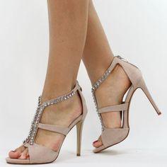 Jumex High Heels Pumps Sandalette Strass nude beige B8950