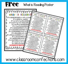 Printable File Folder Games, Other Fun Classroom Activities: FREE Reading Posters Fun Classroom Activities, Reading Activities, Teaching Reading, Teaching Ideas, Classroom Ideas, Classroom Charts, Reading Games, Reading Worksheets, Guided Reading