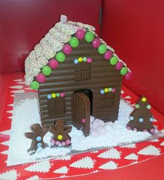 Chocolate Houses At Oh Lolly Lollipop Christmas Treats, Christmas Recipes, Christmas Decorations, Xmas Ideas, Gift Ideas, Chocolate House, Candy House, Chocolate Lollipops, Gingerbread Cake