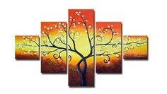 "Tree Oil Painting - Wall art finished in the USA. Dimensions (H x W): 36"" x 60"". Canvas oil painting. Gallery wrapped canvas art comes ready to hang. 5 Panels: 12"" x 12"" (2 pieces), 12"" x 24"" (2 pieces), 12"" x 36"" (1 piece)."