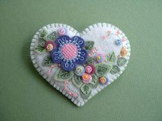 heart white brooch