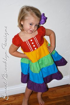 Puffed Sleeve Rainbow Dress 12 months  4T by SweetBrooklynDesigns, $55.00