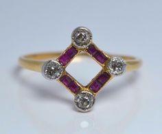 ANTIQUE ART DECO 18k Gold 0.20 CT Diamond and Ruby Daisy Ring 2.1 Gr 750 #ArtDeco