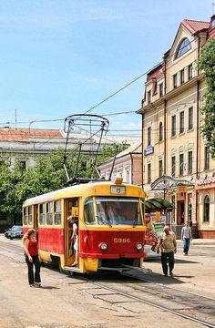 Soviet Era Streetcar in Kiev, Ukraine