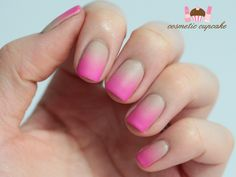 Limited Edition Screen Siren Nail Enamel   How To Nail Art with Cosmetic Cupcake - Neon + Nude ombre mani how to