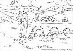 Loch Ness Monster--drawing, coloring, and art