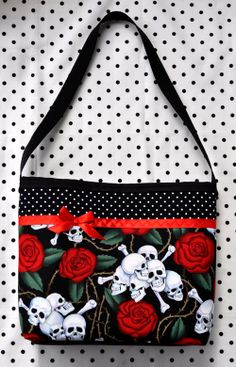 Skulls & Roses and Polka Dots Purse - Psychobilly Tattoo style bag - $14.99 from Sabbie's Purses and More