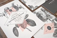 Painterly Floral Wedding Invitation & by rachelmarvincreative