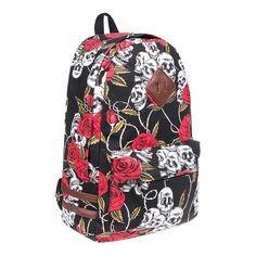 cf195f9e3458 Blue Banana Black Red Rose Skull Alternative Rocker Backpack Rucksack  School Bag
