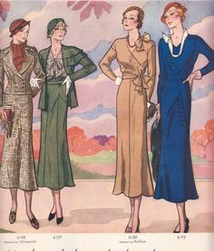 Pictorial Review Fashion Book, Autumn 1932 featuring Pictorial 6148 (from Schiaparelli), 6129, 6180 and 6193