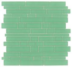 Oceanic Random Bricks Green Cane Solids Matte Glass - Tile - Glass Tile Oasis