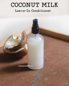 Coconut Milk Leave in Spray on Conditioner Coconut milk is packed with loads of proteins and vitamins which makes it an excellent beauty product. It adds strength and elasticity to weak, brittle and damaged hair, and promotes longer hair by he Coconut Milk For Hair, Coconut Oil Hair Mask, Coconut Oil Uses, Natural Hair Care Tips, Natural Hair Styles, Diy Conditioner, Coconut Conditioner, Leave In Conditioner, Natural Hair Treatments