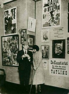 """First International Dada Fair"", Berlin 1920 Raoul Hausmann and Hannah Höch in front of their works Photograph Hannah Höch Archive  Pho..."