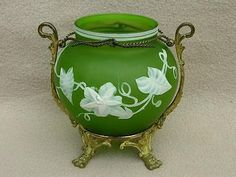 ANTIQUE THOMAS WEBB CAMEO GLASS VASE IN GILDED METAL STAND FLOWERS ART NOUVEAU