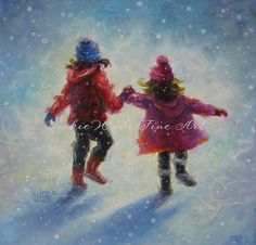 Snow Sisters Original Oil Painting two by VickieWadeFineArt, $95.00