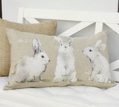 Watercolor Bunny Pillow Covers | Pottery Barn