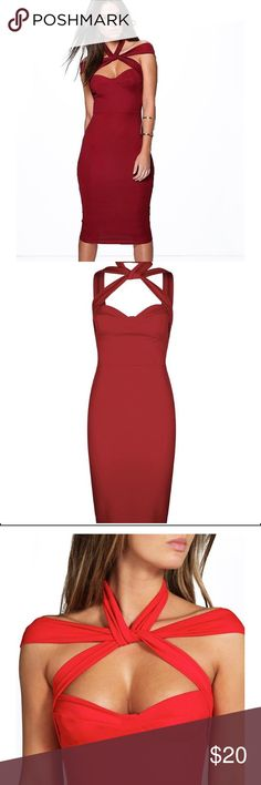 BOOHOO BODYCON DRESS Berry colored bodycon dress. Strappy detail/open back. Boohoo Dresses