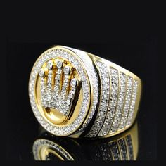 18k Micro Paved CZ Crown Ring