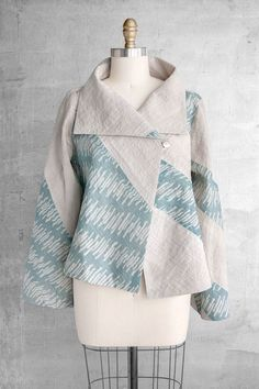 Cozy Jacket in Blue and Gray Diagonal Patchwork - Batik Blazer, Blouse Batik, Batik Dress, Batik Fashion, Hijab Fashion, Fashion Outfits, Womens Fashion, Mode Batik, Batik Kebaya
