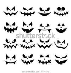 Find Scary Halloween Pumpkin Faces Icons Set stock images in HD and millions of other royalty-free stock photos, illustrations and vectors in the Shutterstock collection. Thousands of new, high-quality pictures added every day. Citouille Halloween, Visage Halloween, Halloween Mignon, Scary Halloween Pumpkins, Adornos Halloween, Manualidades Halloween, Halloween Stickers, Halloween Birthday, Holidays Halloween