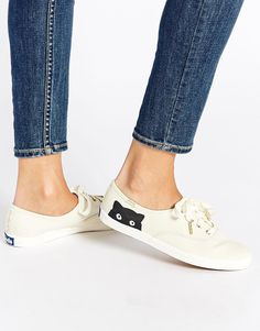 Image 1 of Keds Champion Taylor Swift Kitten Peek-a-Boo Plimsoll Trainers