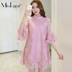 XXXL Plus Size Women Lace Dress 2017 Spring Summer Elegant Style Stand Collar Flare Sleeve Loose Casual Pink Dresses Pink Dress Casual, Pink Dresses, Plus Size Women, African Fashion, Lace Dress, Flare, Cold Shoulder Dress, Spring Summer, Clothes For Women