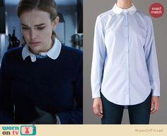 Jemma's peter pan collar shirt on Agents of SHIELD. Outfit Details: http://wornontv.net/21800 #AgentsofSHIELD