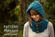 CROCHET PATTERN Hooded Cowl Button Neck Warmer by WellRavelled