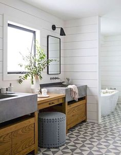 Modern farmhouse style bathroom is a style that combine modern color schemes, shapes, and materials with the rustic warmth of untreated wood, hand-hammered metal, or clay pot. This combination shows…MoreMore #BathroomRemodeling