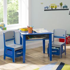 Jack and Jill Kids 3 Piece RectangleTable and Chair Set