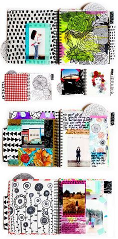 alisaburke: a peek inside my art journal  art journalling using pre-painted papers, photos, tape, doodles etc.