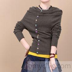 Chocolate hooded woolen sweater top